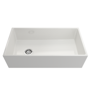 "BOCCHI Contempo Apron Front Fireclay 36"" Single Bowl Kitchen Sink with Protective Bottom Grid and Strainer 1354-001-0120 White"