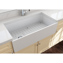 "Load image into Gallery viewer, BOCCHI Contempo Apron Front Fireclay 36"" Single Bowl Kitchen Sink with Protective Bottom Grid and Strainer 1354-002-0120 Matte White"