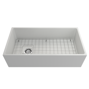 "BOCCHI Contempo Apron Front Fireclay 36"" Single Bowl Kitchen Sink with Protective Bottom Grid and Strainer 1354-002-0120 Matte White"