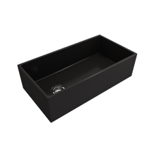 "Load image into Gallery viewer, BOCCHI Contempo Apron Front Fireclay 36"" Single Bowl Kitchen Sink with Protective Bottom Grid and Strainer 1354-004-0120 Matte Black"