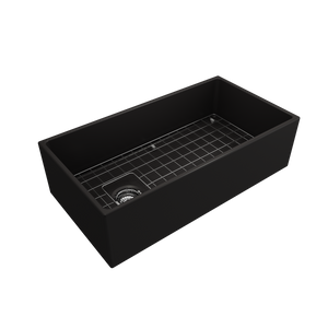 "BOCCHI Contempo Apron Front Fireclay 36"" Single Bowl Kitchen Sink with Protective Bottom Grid and Strainer 1354-004-0120 Matte Black"