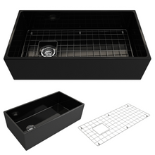 "Load image into Gallery viewer, BOCCHI Contempo Apron Front Fireclay 36"" Single Bowl Kitchen Sink with Protective Bottom Grid and Strainer 1354-005-0120 Black"