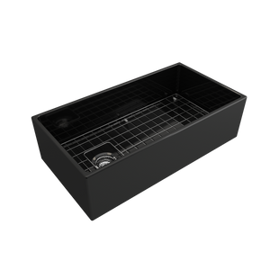 "BOCCHI Contempo Apron Front Fireclay 36"" Single Bowl Kitchen Sink with Protective Bottom Grid and Strainer 1354-005-0120 Black"