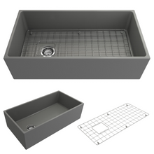 "Load image into Gallery viewer, BOCCHI Contempo Apron Front Fireclay 36"" Single Bowl Kitchen Sink with Protective Bottom Grid and Strainer 1354-006-0120 Matte Gray"