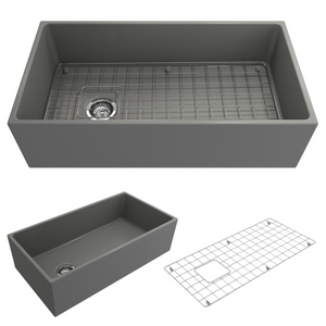 "BOCCHI Contempo Apron Front Fireclay 36"" Single Bowl Kitchen Sink with Protective Bottom Grid and Strainer 1354-006-0120 Matte Gray"