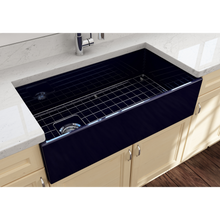 "Load image into Gallery viewer, BOCCHI Contempo Apron Front Fireclay 36"" Single Bowl Kitchen Sink with Protective Bottom Grid and Strainer 1354-010-0120 Sapphire Blue"