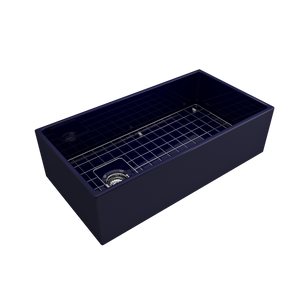 "BOCCHI Contempo Apron Front Fireclay 36"" Single Bowl Kitchen Sink with Protective Bottom Grid and Strainer 1354-010-0120 Sapphire Blue"