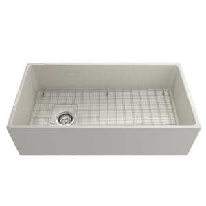 "BOCCHI Contempo Apron Front Fireclay 36"" Single Bowl Kitchen Sink with Protective Bottom Grid and Strainer 1354-014-0120 Biscuit"