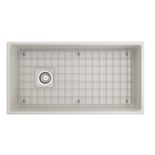 "Load image into Gallery viewer, Contempo Apron Front Fireclay 36"" Single Bowl Kitchen Sink with Protective Bottom Grid and Strainer"