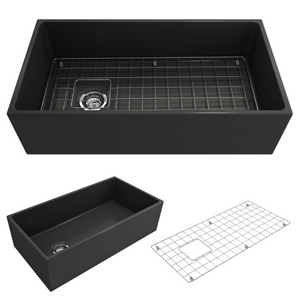 "Contempo Apron Front Fireclay 36"" Single Bowl Kitchen Sink with Protective Bottom Grid and Strainer"