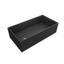 "Load image into Gallery viewer, BOCCHI Contempo Apron Front Fireclay 36"" Single Bowl Kitchen Sink with Protective Bottom Grid and Strainer 1354-0**-0120"