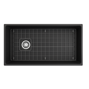 "BOCCHI Contempo Apron Front Fireclay 36"" Single Bowl Kitchen Sink with Protective Bottom Grid and Strainer 1354-020-0120 Matte Dark Gray"