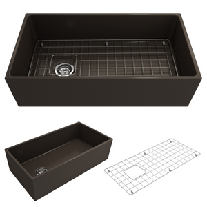 "BOCCHI Contempo Apron Front Fireclay 36"" Single Bowl Kitchen Sink with Protective Bottom Grid and Strainer 1354-025-0120 Matte Brown"