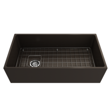 "Load image into Gallery viewer, BOCCHI Contempo Apron Front Fireclay 36"" Single Bowl Kitchen Sink with Protective Bottom Grid and Strainer 1354-025-0120 Matte Brown"