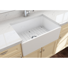 "Load image into Gallery viewer, BOCCHI Contempo Apron Front Fireclay 27"" Single Bowl Kitchen Sink with Protective Bottom Grid and Strainer 1356-001-0120 White"