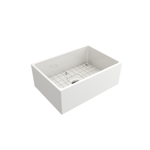 "BOCCHI Contempo Apron Front Fireclay 27"" Single Bowl Kitchen Sink with Protective Bottom Grid and Strainer 1356-001-0120 White"