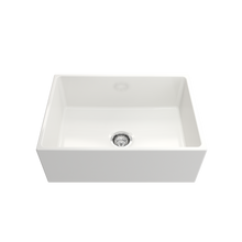 "Load image into Gallery viewer, Contempo Apron Front Fireclay 27"" Single Bowl Kitchen Sink with Protective Bottom Grid and Strainer"