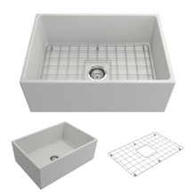 "Load image into Gallery viewer, BOCCHI Contempo Apron Front Fireclay 27"" Single Bowl Kitchen Sink with Protective Bottom Grid and Strainer 1356-002-0120 Matte White"