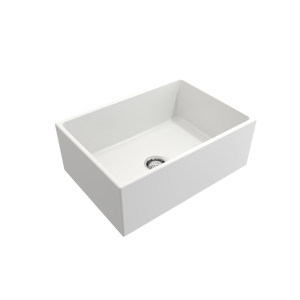 "BOCCHI Contempo Apron Front Fireclay 27"" Single Bowl Kitchen Sink with Protective Bottom Grid and Strainer 1356-002-0120 Matte White"