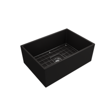 "Load image into Gallery viewer, BOCCHI Contempo Apron Front Fireclay 27"" Single Bowl Kitchen Sink with Protective Bottom Grid and Strainer 1356-004-0120 Matte Black"