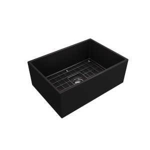 "BOCCHI Contempo Apron Front Fireclay 27"" Single Bowl Kitchen Sink with Protective Bottom Grid and Strainer 1356-004-0120 Matte Black"