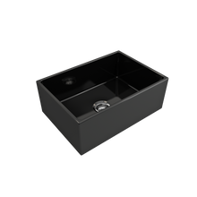 "Load image into Gallery viewer, BOCCHI Contempo Apron Front Fireclay 27"" Single Bowl Kitchen Sink with Protective Bottom Grid and Strainer 1356-005-0120 Black"