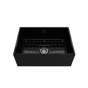 "BOCCHI Contempo Apron Front Fireclay 27"" Single Bowl Kitchen Sink with Protective Bottom Grid and Strainer 1356-005-0120 Black"