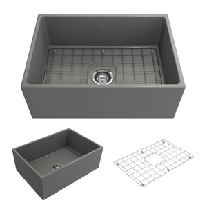 "BOCCHI Contempo Apron Front Fireclay 27"" Single Bowl Kitchen Sink with Protective Bottom Grid and Strainer 1356-006-0120 Matte Gray"