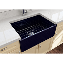 "Load image into Gallery viewer, BOCCHI Contempo Apron Front Fireclay 27"" Single Bowl Kitchen Sink with Protective Bottom Grid and Strainer 1356-010-0120 Sapphire Blue"