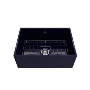 "BOCCHI Contempo Apron Front Fireclay 27"" Single Bowl Kitchen Sink with Protective Bottom Grid and Strainer 1356-010-0120 Sapphire Blue"