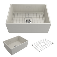 "Load image into Gallery viewer, BOCCHI Contempo Apron Front Fireclay 27"" Single Bowl Kitchen Sink with Protective Bottom Grid and Strainer 1356-014-0120 Biscuit"