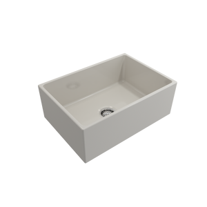 "BOCCHI Contempo Apron Front Fireclay 27"" Single Bowl Kitchen Sink with Protective Bottom Grid and Strainer 1356-014-0120 Biscuit"