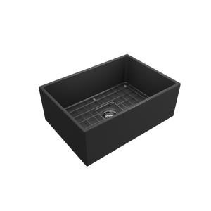 "BOCCHI Contempo Apron Front Fireclay 27"" Single Bowl Kitchen Sink with Protective Bottom Grid and Strainer 1356-020-0120 Matte Dark Gray"