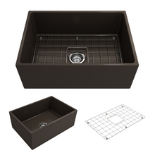 "Load image into Gallery viewer, BOCCHI Contempo Apron Front Fireclay 27"" Single Bowl Kitchen Sink with Protective Bottom Grid and Strainer 1356-025-0120 Matte Brown"