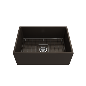 "BOCCHI Contempo Apron Front Fireclay 27"" Single Bowl Kitchen Sink with Protective Bottom Grid and Strainer 1356-025-0120 Matte Brown"