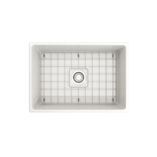 "Load image into Gallery viewer, BOCCHI Vigneto Apron Front Fireclay 27"" Single Bowl Kitchen Sink with Protective Bottom Grid and Strainer 1357-001-0120 White"