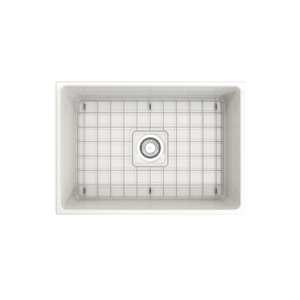 "BOCCHI Vigneto Apron Front Fireclay 27"" Single Bowl Kitchen Sink with Protective Bottom Grid and Strainer 1357-001-0120 White"
