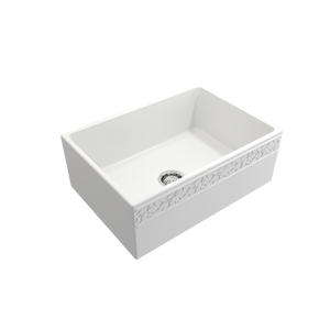"BOCCHI Vigneto Apron Front Fireclay 27"" Single Bowl Kitchen Sink with Protective Bottom Grid and Strainer 1357-002-0120 Matte White"
