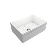 "Load image into Gallery viewer, BOCCHI Vigneto Apron Front Fireclay 27"" Single Bowl Kitchen Sink with Protective Bottom Grid and Strainer 1357-002-0120 Matte White"