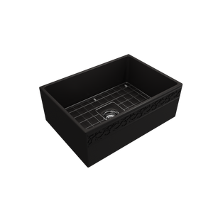 "BOCCHI Vigneto Apron Front Fireclay 27"" Single Bowl Kitchen Sink with Protective Bottom Grid and Strainer 1357-004-0120 Matte Black"