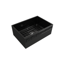 "Load image into Gallery viewer, BOCCHI Vigneto Apron Front Fireclay 27"" Single Bowl Kitchen Sink with Protective Bottom Grid and Strainer 1357-005-0120 Black"