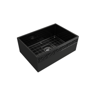 "BOCCHI Vigneto Apron Front Fireclay 27"" Single Bowl Kitchen Sink with Protective Bottom Grid and Strainer 1357-005-0120 Black"
