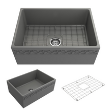 "Load image into Gallery viewer, BOCCHI Vigneto Apron Front Fireclay 27"" Single Bowl Kitchen Sink with Protective Bottom Grid and Strainer 1357-006-0120 Matte Gray"