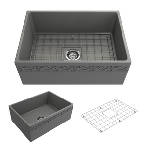 "BOCCHI Vigneto Apron Front Fireclay 27"" Single Bowl Kitchen Sink with Protective Bottom Grid and Strainer 1357-006-0120 Matte Gray"