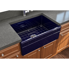 "Load image into Gallery viewer, BOCCHI Vigneto Apron Front Fireclay 27"" Single Bowl Kitchen Sink with Protective Bottom Grid and Strainer 1357-010-0120 Sapphire Blue"
