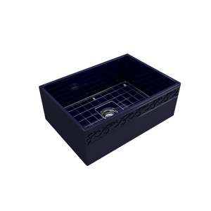 "BOCCHI Vigneto Apron Front Fireclay 27"" Single Bowl Kitchen Sink with Protective Bottom Grid and Strainer 1357-010-0120 Sapphire Blue"