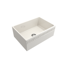 "Load image into Gallery viewer, BOCCHI Vigneto Apron Front Fireclay 27"" Single Bowl Kitchen Sink with Protective Bottom Grid and Strainer 1357-014-0120 Biscuit"