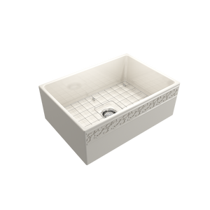 "BOCCHI Vigneto Apron Front Fireclay 27"" Single Bowl Kitchen Sink with Protective Bottom Grid and Strainer 1357-014-0120 Biscuit"