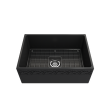 "Load image into Gallery viewer, BOCCHI Vigneto Apron Front Fireclay 27"" Single Bowl Kitchen Sink with Protective Bottom Grid and Strainer 1357-020-0120 Matte Dark Gray"