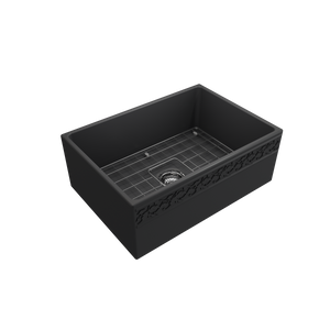 "BOCCHI Vigneto Apron Front Fireclay 27"" Single Bowl Kitchen Sink with Protective Bottom Grid and Strainer 1357-020-0120 Matte Dark Gray"